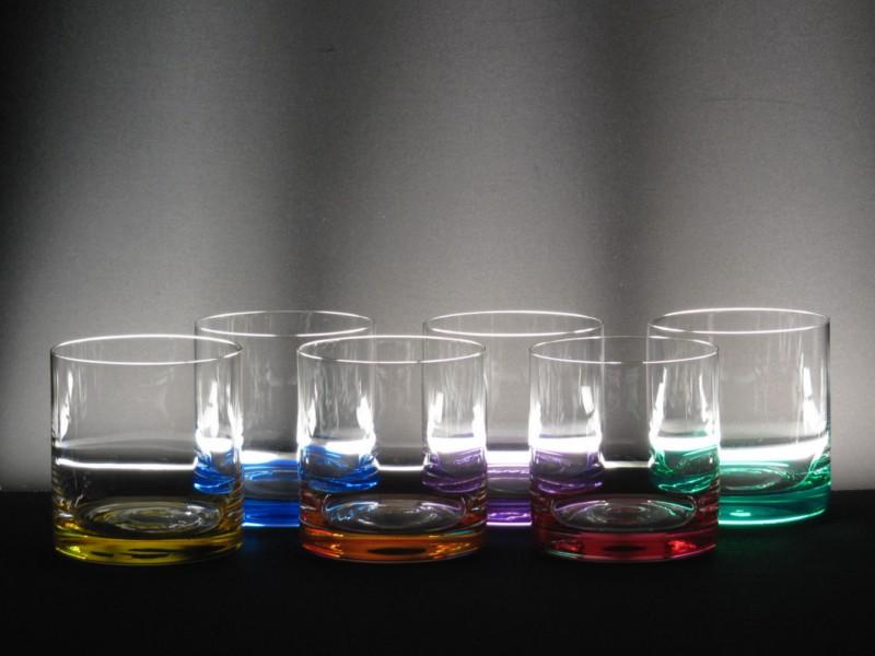 Juego 6 vasos 5089 bajos colores whisky cristal de for Vasos cristal colores