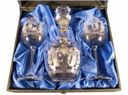 Estuche 2 Copas MAXIMA Burdeos + Botella 1888 - Escudo Heráldico 1 - Tallado a Mano