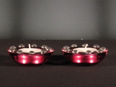 Set 2 Portavelas Redondos Rojo/Brillante