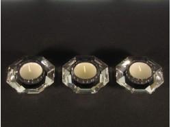 Set 3 Portavelas Octogonales Transparentes