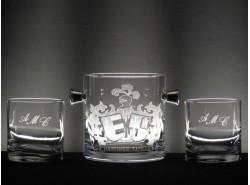 Estuche Whisky 5089 3 Piezas Escudo Heráldico Doble-1 + Iniciales - BOHEMIA