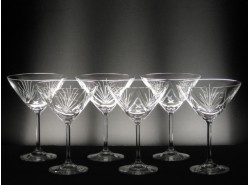 Juego 6 Copas Cocktail BASILEA T/108 Tallado a Mano - BOHEMIA